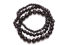 Small, Medium & Large Bead Bracelet In Shiny Black, Stretchy For Ease(Zx28)