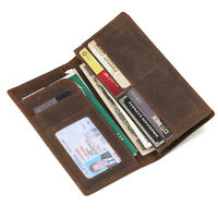 Mens RFID Leather Wallet Bifold Passport Ticket Holder ID Secure Long Purse Gift