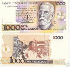 BRAZIL 1 Cruzado Banknote World Money Currency BILL p216b 1989 Note O/P 1000