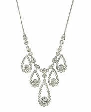 $98 Givenchy Silver Tone Swarovski Clear Crystal Tear Drop Frontal Necklace NEW