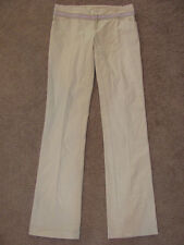 PAOLA FRANI BEIGE WOVEN KHAKI COTTON DRESS PANTS NWT 42