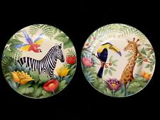 "2 Sakura Jungle Animals Salad Plates By Stephanie Stouffer 8 1/4"" Giraffe Zebra"