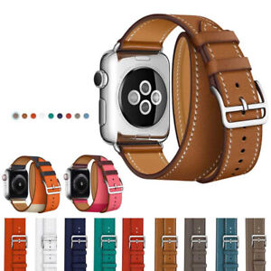 Leather Watch Band Belt Single Double Tour For Apple Watch Series 6 5 4 3 2 SE
