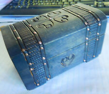 VNTG Hand Carved Wooden Trinket Treasure Jewelry Box Chest ~ Product of Poland