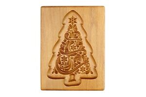 Gingerbread mold pattern carved. Christmas tree.Wooden cookie cutter. Springerle