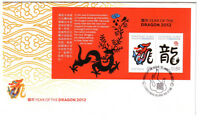 2012 FDC Christmas Island. Year of the Dragon mini-sheet. Flame postmark.