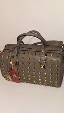 Womens Gray Barrel Bag with Gold Studds