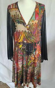 Anthropologie Multicolor Bohemian Mesh Sleeve Faux Wrap Dress XL