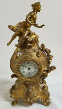 Antique Vintage Benedict Gilt Bronze Novelty Decorative Clock Cupid Louis Xiv