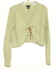 Ralsey Lime Chunky Knit Womens Bolero Sweater with Leather Tie Size PS Hong Kong
