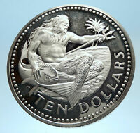 1974 BARBADOS Huge 4.2cm Genuine Proof Silver 10 Dollars Coin w NEPTUNE i77444