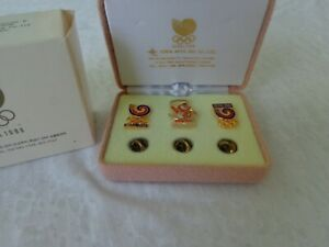 Vtg 1988 Seoul Olympics Set of 3 Memorial Game Pins Eden Arts Industrial Co. NIB