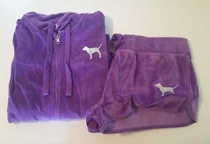 NIP, Victoria's Secret Pink, purple velour, dolphin shorts and jacket