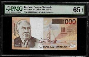 BELGIUM - 1000 FRANCS - P. # 150 - 1997 - PMG GEM UNC 65 EPQ - SAILING BOAT
