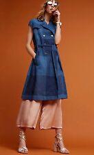 Checkered Trench Dress Sz L   Eva Franco Jacket Coat Layering Piece Linen Blend
