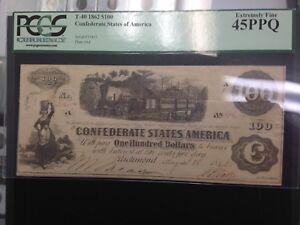 1862 T-40  $100 Train CONFEDERATE STATES OF AMERICA , PCGS  XF45 PPQ