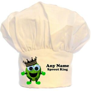 PERSONALISED BRUSSEL SPROUT KING PRINT CHEFS HAT BBQ POLYESTER GIFT CHRISTMAS