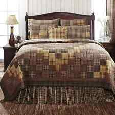 PRESCOTT Full Queen QUILT SET : BROWN PLAID PATCHWORK COUNTRY PATCH CABIN