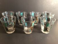 """MCM """"Its In The Cards"""" 4"""" Rocks Glass (7) Turquoise Gold King Queen Barware"""