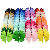 40pcs Kids Girls Boutique Hair Bows Alligator Clip Grosgrain Ribbon Hair Clip I2