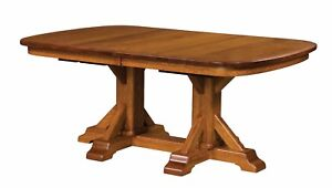 Amish Rustic Trestle Pedestal Dining Table Rectangle Extending Solid Wood