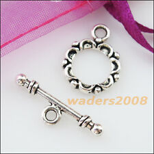 8 New Connectors Necklace Round Circle Toggle Clasps Tibetan Silver