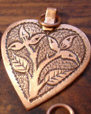 Moroccan hand engraved copper heart pendant with flowers