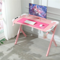 Girls R-Shaped Computer Gaming Desk W/ Rotatable Cup Holder & Free Mousepad Pink