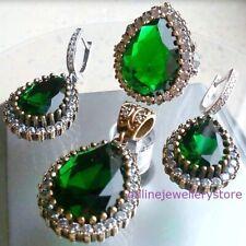 925 Silber Smaragd Birne Schmuck Set Ring Ohrringe Anhänger grün Hurrem Sultan