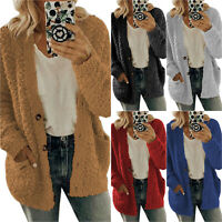 Womens Oversized Long Sleeve Fleece Fluffy Cardigan Sweater Pocket Coat Jacket