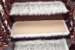 1PC Faux Wool Stair Tread Carpet Mat Staircase Plush Non-slip Rug Pad Home Decor
