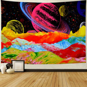 Psychedelic Galaxy Space Tapestry Trippy Cactus  Mysterious Planets Universe
