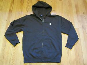 APPLE logo Employee Hoodie Brown Full Zip Large LG Sweatshirt Heavyweight Fleece
