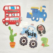 DIY Iron on Kids Car Bus 4X4 Theme Vinyl Transfers Pack of 6
