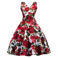 Audrey Hepburn 50s Rockabilly Swing Evening Pin Up Retro Floral Prom Party Dress