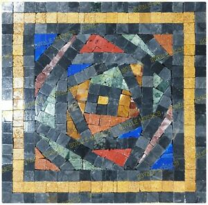 Geometrical squarish marble mosaic colorful handmade art design , free shipping
