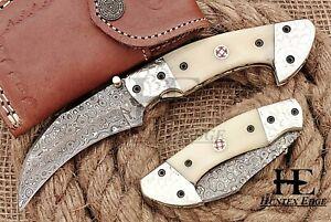 HUNTEX Custom Handmade Damascus Steel 110 mm Long Hunting Folding Pocket Knife