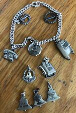 Vintage Sterling Silver Bell System 10 Charm Bracelet