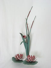 """Metal Cactus Lily Pad Lotus 2 Votive Cup or Taper Holder Wall Sconce 24"""""""