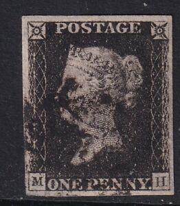 GB 1840 Penny Black with black maltese cross cancel - 4 Margins - fine used