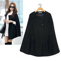 Women Lady Casual Cape Black Batwing Poncho Jacket Lady Winter Warm Cloak Coat