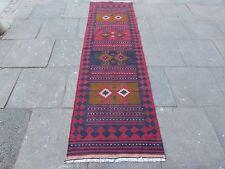 Old Hand Made Afgano Tradizionale Lana Tribale Rosso Marrone Kilim Runner 296x85cm