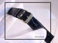 NOS Vintage Swiss Omega 18mm Black Leather Watch Strap Band w/ YP Gold Buckle