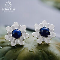 Elegant Natural Stone Solid 925 Silver Flower Stud Earrings for Ladies Jewelry