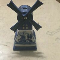 "VINTAGE ""HOLLAND"" HANDPAINTED DELFT BLUE WINDMILL TEALIGHT CANDLE HOLDER"