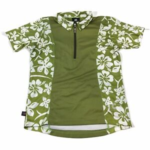 Cannondale Womens Green Floral Hibiscus Short Sleeve Cycling Jersey Size Small