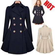 US Stock Women Long Overcoat Jacket Windbreaker Slim Double Breasted Trench Coat