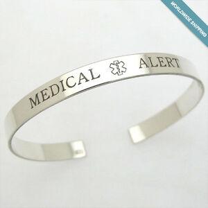 Custom Medical Bracelet - Medical Epilepsy Bracelet - Alert Jewelry -Silver Cuff
