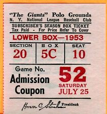 SCARCE/MINT 7/25/53 GIANTS/REDS TICKET STUB AT POLO GROUNDS