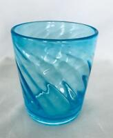 "Collectible 4 1/4"" Turquoise Blue Hand Blown Swirled Art Glass Votive / Vase"